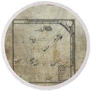 1887 Baseball Game Patent Round Beach Towel
