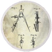 1888 Draftsmans Compass Patent  Round Beach Towel