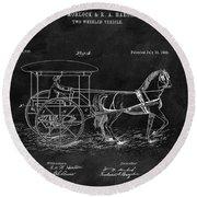 1888 Horse Drawn Carriage Round Beach Towel
