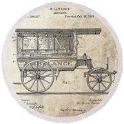1889 Ambulance Patent Round Beach Towel