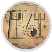 1889 Coffee Maker Patent Round Beach Towel