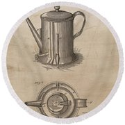 1889 Coffee Pot Patent Illustration Round Beach Towel