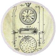 1889 Stop Watch Patent Art S. 1 Round Beach Towel
