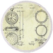 1889 Stop Watch Patent Art Sheets 1-2 Round Beach Towel