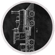 1891 Locomotive Engine Patent Round Beach Towel