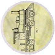 1891 Locomotive Patent Round Beach Towel