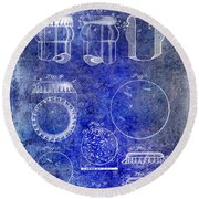 1892 Bottle Cap Patent Blue Round Beach Towel