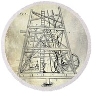 1893 Oil Well Rig Patent Round Beach Towel