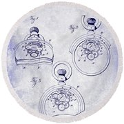 1893 Pocket Watch Patent Blueprint Round Beach Towel