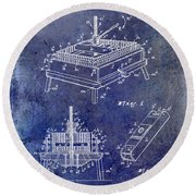 1894 Wine Press Patent Blue Round Beach Towel