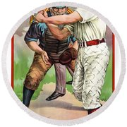 1895 In The Batters Box Round Beach Towel