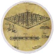 1896 Chess Set Patent Round Beach Towel