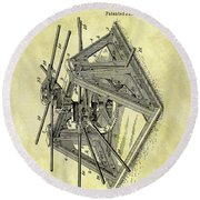 1896 Oil Rig Illustration Round Beach Towel