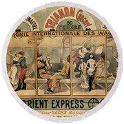 1896 Orient Express Musical Revue Paris Round Beach Towel