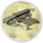 1896 Typewriter Patent Round Beach Towel