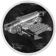 1896 Typewriter Patent Illustration Round Beach Towel