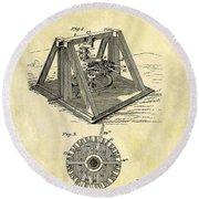 1897 Oil Rig Patent Round Beach Towel