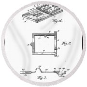 1898 Animal Mouse Trap Round Beach Towel