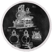 1898 Locomotive Headlight Patent Round Beach Towel