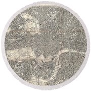 1899 Bacon Pocket Plan Or Map Of London  Round Beach Towel
