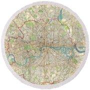 1899 Bartholomew Fire Brigade Map Of London England  Round Beach Towel