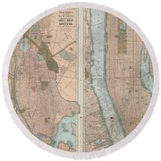 1899 Home Life Map Of New York City  Manhattan And The Bronx  Round Beach Towel