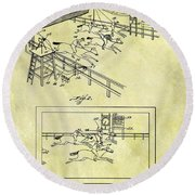 1899 Horse Racing Track Patent Round Beach Towel