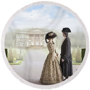 18th Century Georgian  Couple Looking Towards A Country Estate Round Beach Towel