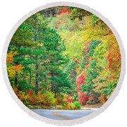 Autumn Season On Blue Ridge Parkway Round Beach Towel