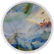 19. Blue Green Brown Abstract Glaze Painting Round Beach Towel