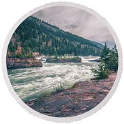 Kootenai River Water Falls In Montana Mountains Round Beach Towel