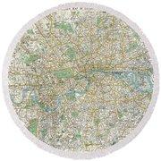 1900 Bacon Pocket Map Of London England  Round Beach Towel
