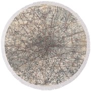 1900 Gall And Inglis' Map Of London And Environs Round Beach Towel