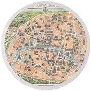 1900 Garnier Pocket Map Or Plan Of Paris France Eiffel Tower  Round Beach Towel