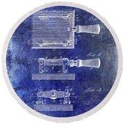 1900 Knife Switch Patent Blue Round Beach Towel