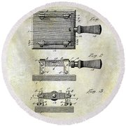 1900 Knife Switch Patent Round Beach Towel