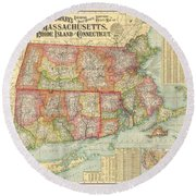 1900 National Publishing Railroad Map Of Connecticut Massachusetts And Rhode Island  Round Beach Towel