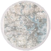 1900 Us Geological Survey Of Boston And Vicinity Massachusetts Round Beach Towel