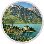 1900s Switzerland Swiss Alps Spiez Mit Ralligstoecke Round Beach Towel