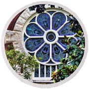 1901 Antique Uab Gothic Stained Glass Window Round Beach Towel by Kathy Clark