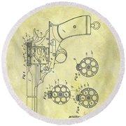 1901 Automatic Revolver Patent Round Beach Towel