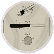 1902 Baseball Bat Patent In Aged Gray Round Beach Towel