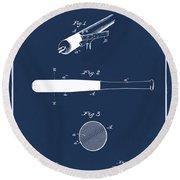 1902 Baseball Bat Patent In Blue Round Beach Towel