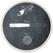 1902 Baseball Bat Patent In Chalk Round Beach Towel