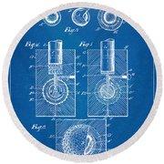 1902 Golf Ball Patent Artwork - Blueprint Round Beach Towel