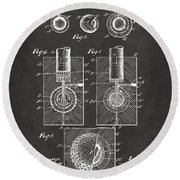 1902 Golf Ball Patent Artwork - Gray Round Beach Towel
