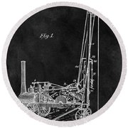 1902 Oil Well Patent Round Beach Towel