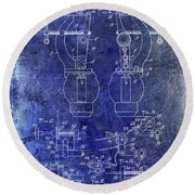 1902 Watchmakers Lathes Patent Blue Round Beach Towel