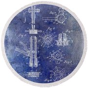 1903 Beer Tap Patent Blue Round Beach Towel