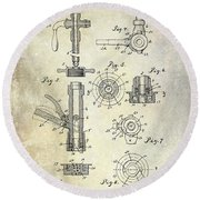 1903 Beer Tap Patent Round Beach Towel